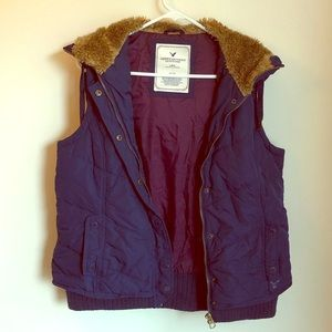 American eagle vest with faux fur hood.